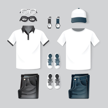 blue jeans: Vector fashion clothing, cap, t-shirt, jean,two tone hipster mockup design template layout.