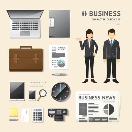 uniformes de oficina: La gente del vector fijadas carácter laboral negocio iconos estilo plano con el equipo objetos. disposición de diseño conjunto de identidad corporativa maqueta plantilla. ilustración mujeres, hombres en uniforme. gráfico de infografía.