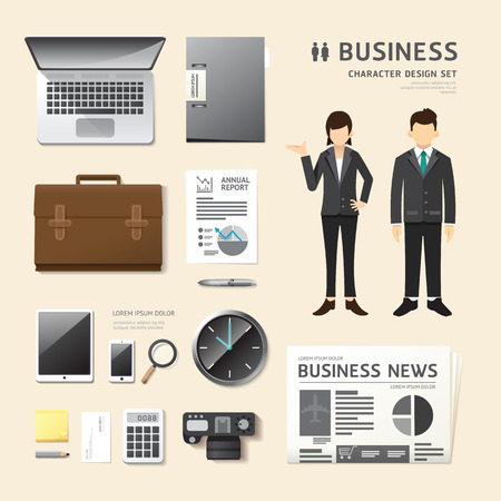 office uniform: Vector people set  business job character icons flat style with objects equipment. design layout set of corporate identity mock up template. illustration women, men in uniform. graphic for infographic.