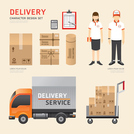 Vector people set  delivery shipping service job character icons flat style with objects equipment. design layout set of corporate identity mock up template. illustration women, men in uniform. graphic for infographic.