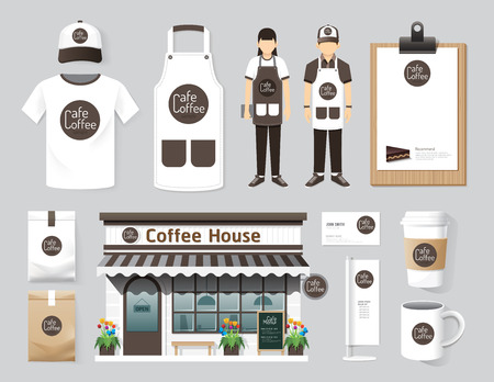 uniforms: Vector restaurant cafe set shop front design, flyer, menu, package, t-shirt, cap, uniform and display design layout set of corporate identity mock up template.