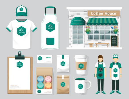 uniform: Vector restaurant cafe set shop front design, flyer, menu, package, t-shirt, cap, uniform and display design layout set of corporate identity mock up template.