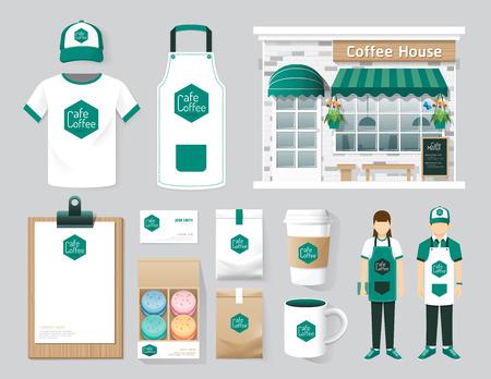 negozio: Vector ristorante shop design set caffè davanti, flyer, il menu, il pacchetto, t-shirt, cappellino, uniforme e la visualizzazione di progettazione  il layout insieme di corporate identity mock up modello.