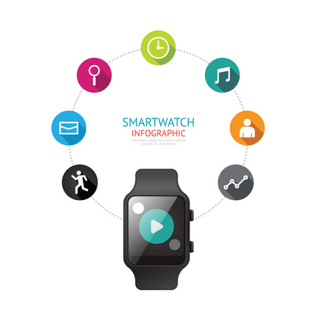 wristbands: Smartwatch infographic isolated  with icons time line concept. Vector Illustration. Illustration