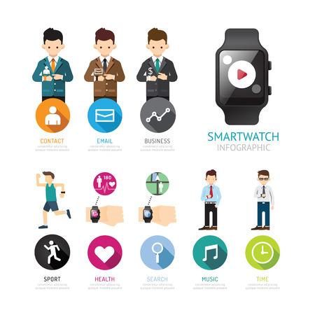 salud y deporte: SmartWatch conexi�n men� infograf�a aislada con iconos y personas. concepto de moda la vida social inteligente. Ilustraci�n del vector. Vectores