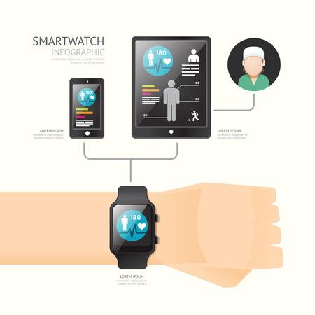 スマートウォッチ インフォ グラフィックにアイコン時間線技術健康とサービスの概念。ベクトルの図。