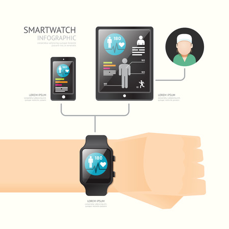 wristbands: Smartwatch infographic with icons time line technology for health and services concept. Vector Illustration. Illustration