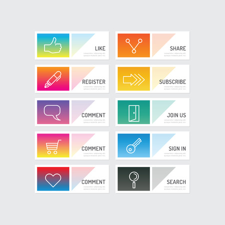 advertising signs: Modern banner button with social icon design options. Vector illustration. can be used for infographic workflow layout, banner, abstract, colour, graphic or website layout vector