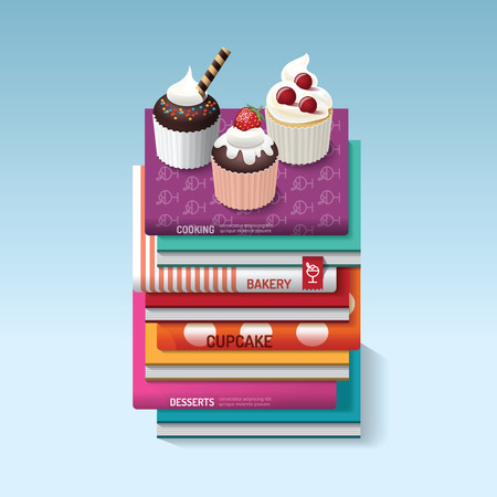 mousse: food cook books idea cupcake concept design. Vector illustration. can be used for layout, banner and web design.