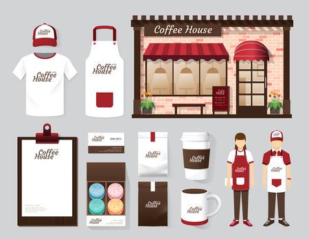 uniform: Edificios vectoriales restaurante y diseño frontal tienda de café, folleto, carta, paquete, camiseta, gorra, uniforme y visualización de diseño  layout conjunto de identidad corporativa maqueta plantilla. Foto de archivo