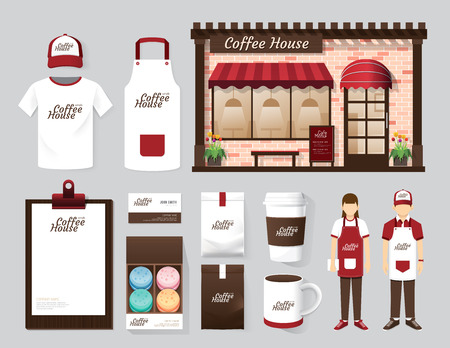 shop front: Vector buildings restaurant and cafe shop front design, flyer, menu, package, t-shirt, cap, uniform and display design layout set of corporate identity mock up template. Stock Photo
