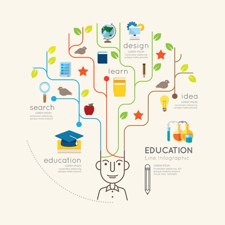 Düz çizgi Infographic Eğitim İnsanlar ve Kalem Ağacı Anahat concept.Vector İllüstrasyon.