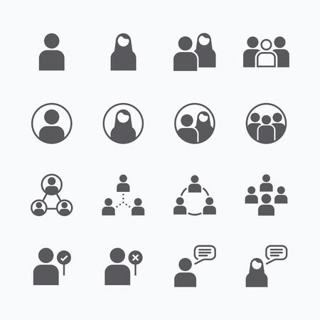 grupos de gente: l�nea plana iconos gente conjunto de iconos vectoriales concepto. Vectores