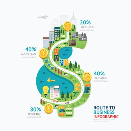 city: Infografía dinero del negocio dólar plantilla de forma design.route al concepto de éxito ilustración vectorial  diseño diseño gráfico o web.