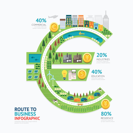 Infographic business money euro shape template design.route to success concept vector illustration / graphic or web design layout.