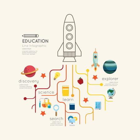 フラット ライン インフォ グラフィック教育ロケット概要概念。ベクトルの図。  イラスト・ベクター素材