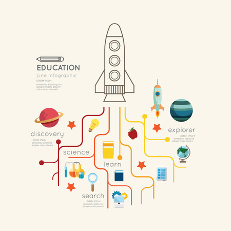 Flat line Infographic Education rocket Outline concept.Vector Illustration.