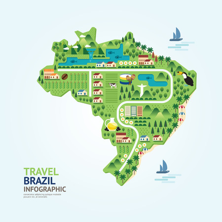 brazil: Infographic travel and landmark brazil map shape template design. country navigator concept vector illustration  graphic or web design layout.