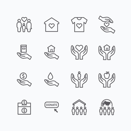 charitable: charity and donation silhouette icons flat line design vector Illustration