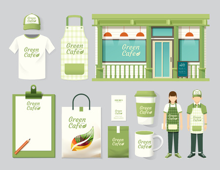 Vector restaurant café set winkel front design, flyer, menu, verpakking, t-shirt, cap, uniform en display design  lay-out set van corporate identity bespotten up template. Stock Illustratie