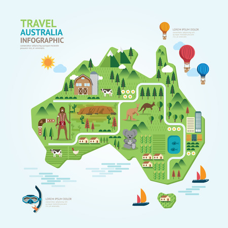 australia landscape: Infographic travel and landmark australia map shape template design. country navigator concept vector illustration  graphic or web design layout. Illustration