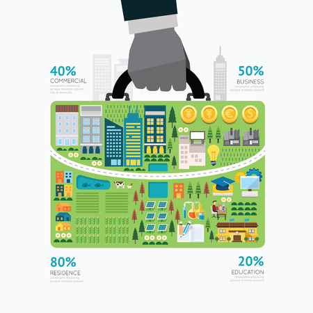 Infographic businessman hand hold business bag shape template design.route to success concept vector illustration  graphic or web design layout.