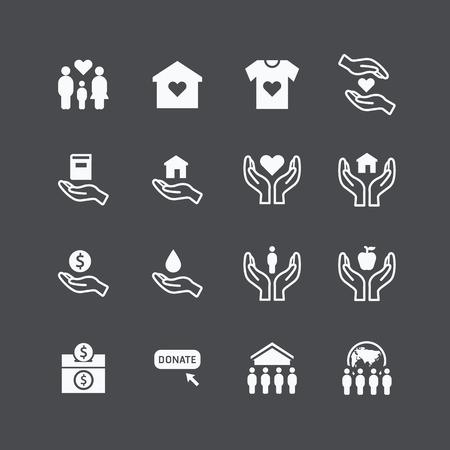 Carità e donazione icone silhouette piatta disegno vettoriale Archivio Fotografico - 39941367