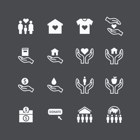 liefdadigheid en schenking silhouet iconen platte ontwerp vector Stock Illustratie