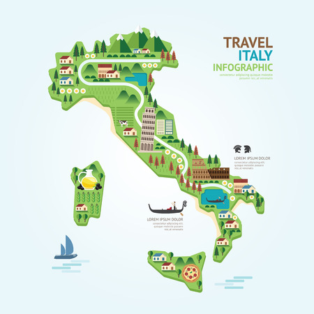 Infographic travel and landmark italy map shape template design. country navigator concept vector illustration  graphic or web design layout.
