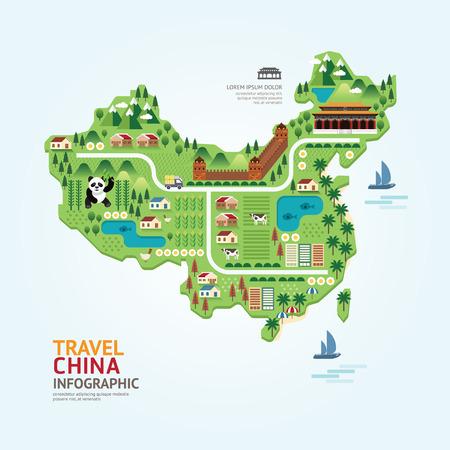 인포 그래픽 여행 및 랜드 마크 중국지도 모양 템플릿 디자인. 국가 네비게이터 개념 벡터 일러스트  그래픽 또는 웹 디자인 레이아웃.