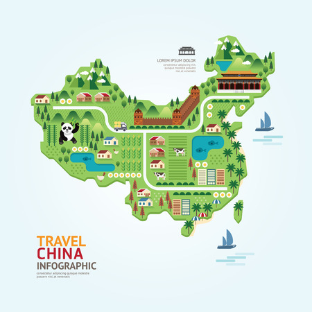 china wall: Infographic travel and landmark china map shape template design. country navigator concept vector illustration  graphic or web design layout.