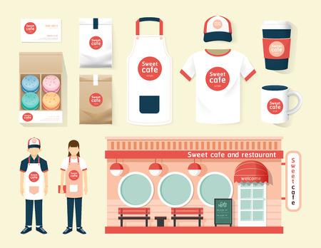 mandil: Restaurante de diseño vectorial cafe conjunto departamento frente, folleto, carta, paquete, camiseta, gorra, uniforme y visualización de diseño  layout conjunto de identidad corporativa maqueta plantilla.