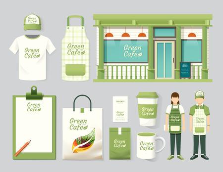 mandil: Restaurante de dise�o vectorial cafe conjunto departamento frente, folleto, carta, paquete, camiseta, gorra, uniforme y visualizaci�n de dise�o  layout conjunto de identidad corporativa maqueta plantilla.