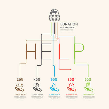 Flat linear Infographic Charity and Donation Outline concept. Illustration