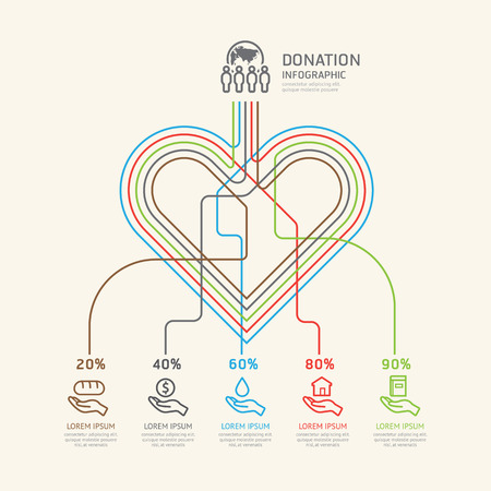 donating: Flat linear Infographic Charity and Donation Outline concept. Illustration