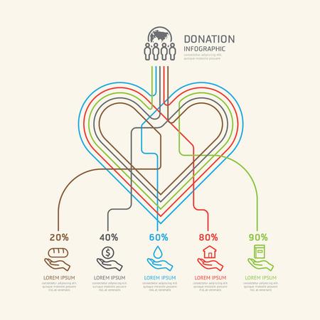 apoyo familiar: Lineal plana Infografía Caridad y el concepto de esquema de donación. Vectores