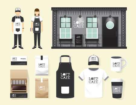 uniform: Restaurant cafe set shop front design, flyer, menu, package, t-shirt, cap, uniform and display design layout set of corporate identity mock up template. Illustration
