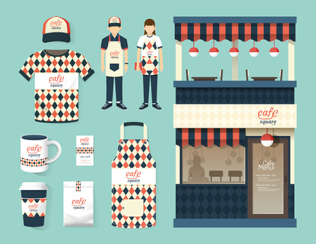 store front: Restaurant cafe set shop front design flyer menu package tshirt cap uniform and display design layout set of corporate identity mock up template. Illustration