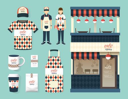 negozio: Ristorante bar set negozio davanti flyer design berretto pacchetto menu tshirt uniforme e la visualizzazione di progettazione del layout insieme di corporate identity mock up modello. Vettoriali