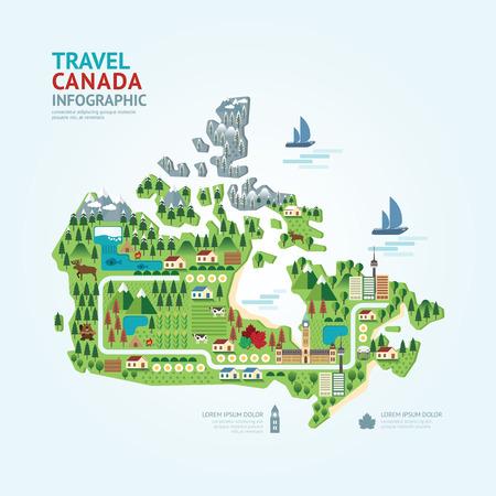인포 그래픽 여행 및 랜드 마크 캐나다지도 모양 템플릿 디자인. 국가 네비게이터 개념 벡터 일러스트  그래픽 또는 웹 디자인 레이아웃.