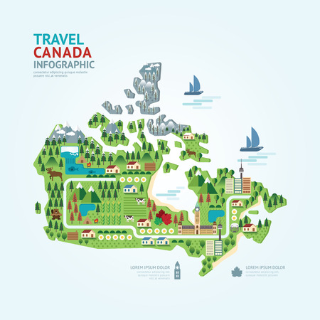 Infographic travel and landmark canada map shape template design. country navigator concept vector illustration  graphic or web design layout.