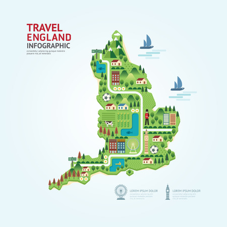 route: Infographic travel and landmark England,United Kingdom map shape template design. country navigator concept vector illustration  graphic or web design layout.