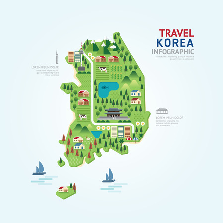 and south: Infographic travel and landmark korea map shape template design. country navigator concept vector illustration  graphic or web design layout.