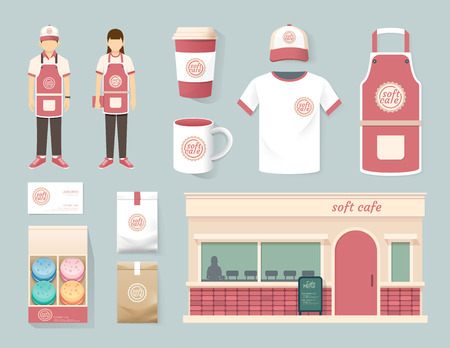 ristorante: Vector ristorante shop design set caffè davanti, flyer, il menu, il pacchetto, t-shirt, cappellino, uniforme e la visualizzazione di progettazione  il layout insieme di corporate identity mock up modello.