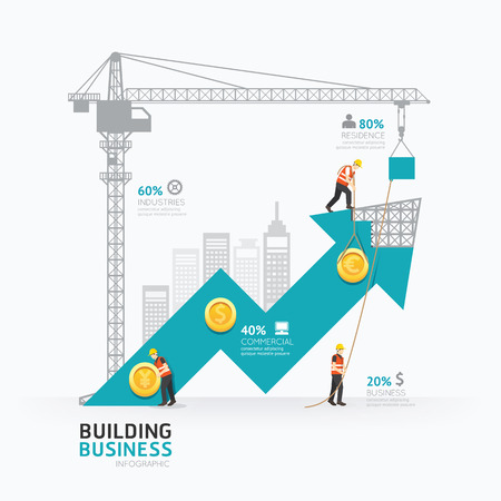 Infographic business arrow shape template design.building to success concept vector illustration / graphic or web design layout. Çizim