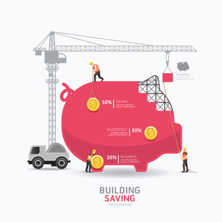 Infographic business piggy bank shape template design.building to success concept vector illustration / graphic or web design layout. Vettoriali