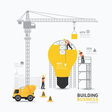 Infografía luz negocio forma de bulbo plantilla design.building al concepto de energía ilustración vectorial  diseño diseño gráfico o web.