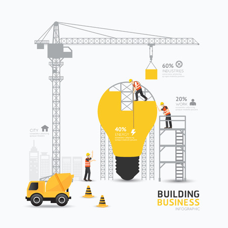 light bulb idea: Infographic business light bulb shape template design.building to energy concept vector illustration  graphic or web design layout.