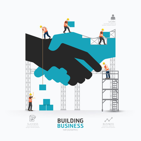 ingeniero: Infografía negocio apretón de manos plantilla de forma design.building al concepto de éxito ilustración vectorial  diseño diseño gráfico o web.