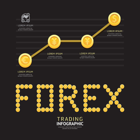 share prices: Infographic business currency money coins forex font shape template design. idea success concept vector illustration  graphic or web design layout. Illustration
